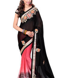 Buy Black and Peach embroidered chiffon saree with blouse wedding-saree online
