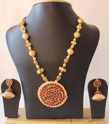 Buy BEAUTIFUL UNIQUE GOLD TONE PEARL ROYAL TEMPLE PENDANT NECKLACE WITH MATCHING EARRINGS necklace-set online