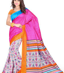 Buy PINK PRINTED BHAGALPURI SILK SAREE WITH BLOUSE shimmer-saree online
