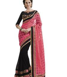 Buy PINK EMBROIDERY NET SAREE WITH BLOUSE net-saree online