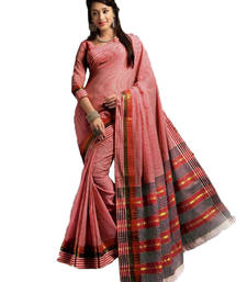 Buy Red and White Plain cotton saree with blouse cotton-saree online
