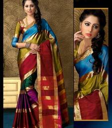 Buy Multicolour Plain cotton saree with blouse cotton-saree online