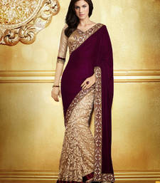 Buy Megenta and Cream embroidered velvet saree with blouse half-saree online