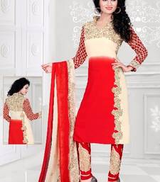 Buy Red printed Crepe unstitched salwar with dupatta dress-material online