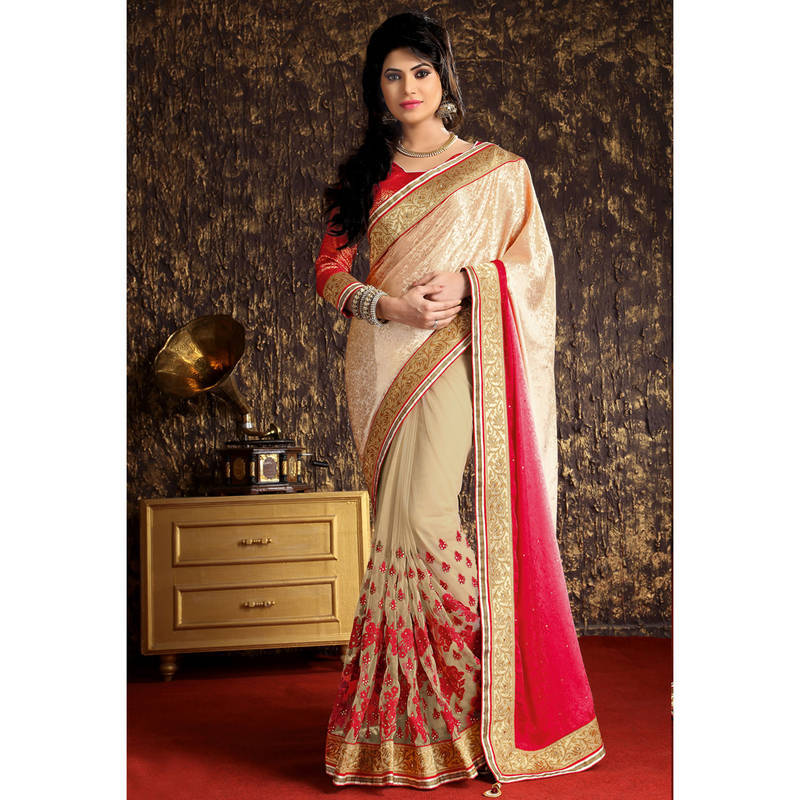 Buy Chikoo And Pink Embroidered Georgette Saree With Blouse Online