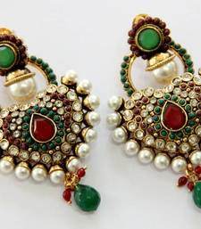 Buy ANTIQUE GOLD PLATED RED GREEN N WHITE PEARLS HANGINGS danglers-drop online
