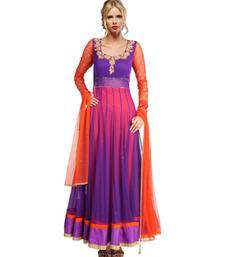Purple embroidered Net readymade-suits shop online