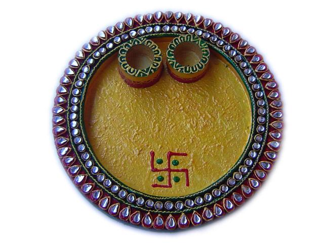 Buy kundan meena pooja thali online for Aarti thali decoration with kundan