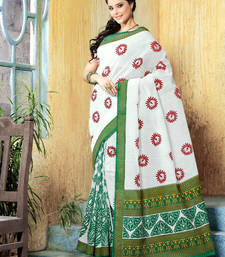Buy Green andWhite printed cotton saree with blouse cotton-saree online