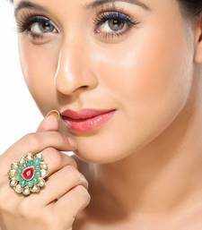 Buy Good looking Emeralds & Ruby Kundan Ring Ring online