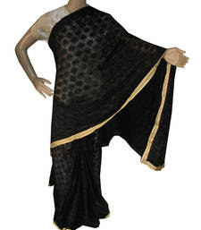 Black embroidered chiffon saree with out blouse shop online