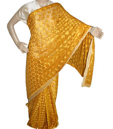 Buy Mustard embroidered chiffon saree with out blouse phulkari-saree online