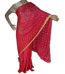 Buy Crimson embroidered chiffon saree with out blouse phulkari-saree online