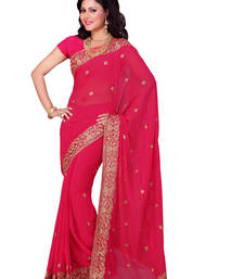 Buy Carrot Pink embroidered georgette saree with blouse party-wear-saree online
