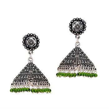 buy black metal oxidised earrings green triangle