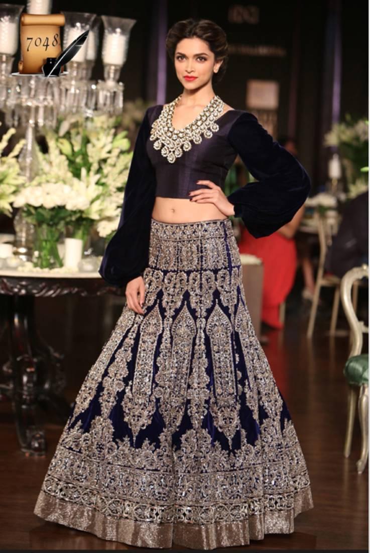 Buy Deepika Padukone Blue fancy Moss Wedding Lehengas Online