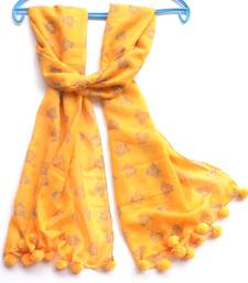 Buy Designer Unique Piece Tangy Yellow Birdie Pom-Pom Scarf stole-and-dupatta online