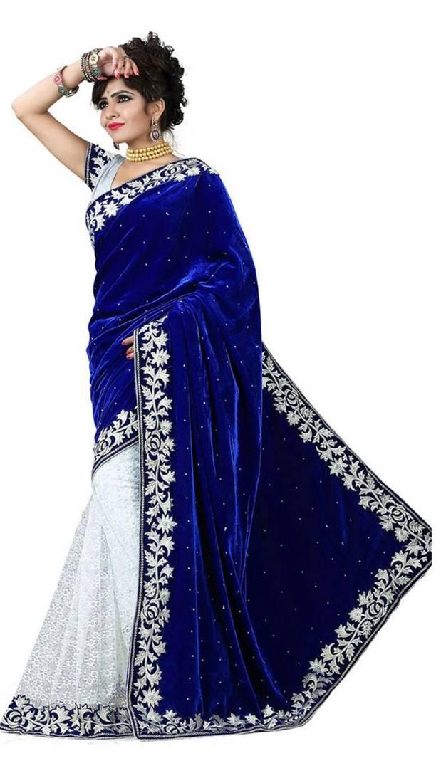 Buy Blue and White embroidered velvet saree Online