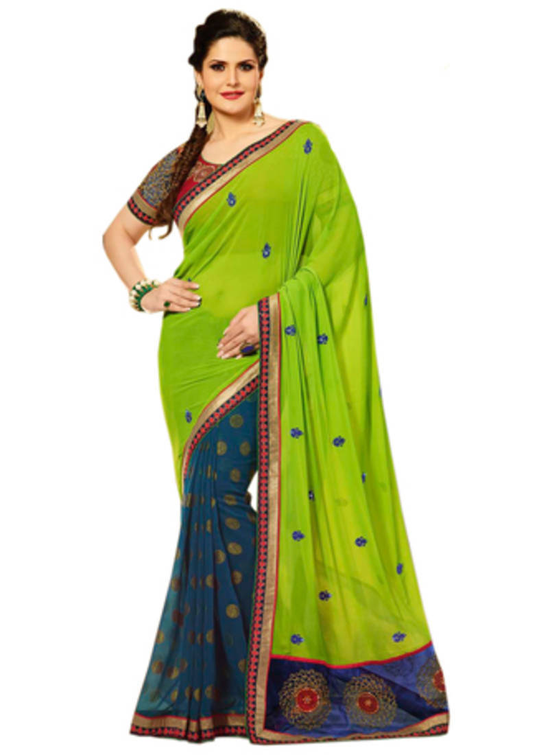 Buy Green And Blue embroidered Georgette saree with blouse ...