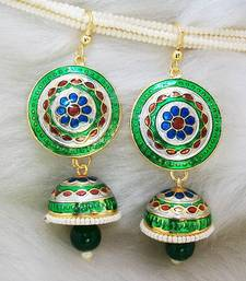Buy Meenakari Tokri Pendant Earring Green Base Earring online