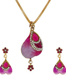 Buy Pink Meenakari Designer  Pendant set party-jewellery online