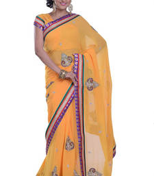 Buy PEACH embroidered viscose-sarees saree viscose-saree online