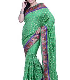 Buy Green embroidered silk saree with blouse dupion-saree online