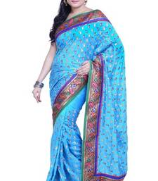 Buy Aqua Blue embroidered silk saree with blouse dupion-saree online