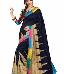 Buy Multicolour printed art_silk saree with blouse ethnic-saree online