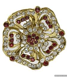 Buy Gold-plated, floral brooch embedded with faux diamonds brooch online