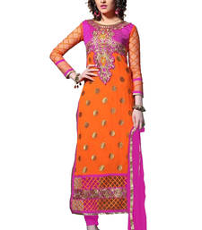 Buy Orange and Pink embroidered Net and Georgette unstitched salwar with dupatta dress-material online