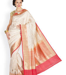 Buy Crème  and  Red  hand_woven satin saree with blouse satin-saree online