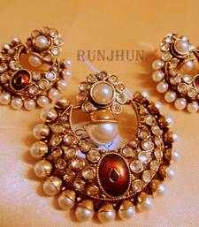 Buy pearl and polki pendent set Pendant online