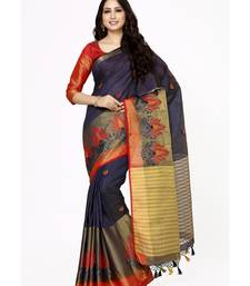 e3d394e6654704 Mimosa navy blue embroidered tussar art silk saree with blouse Shop Online