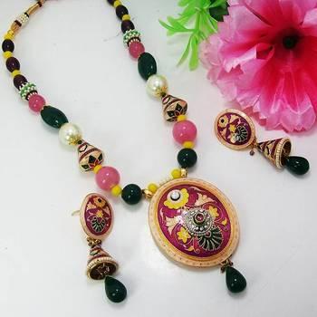 Meenakari Oval Pendant Necklace Violet Black