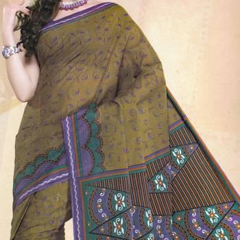 Elegant Mal Mal cotton saree with blouse piece d.no PW108