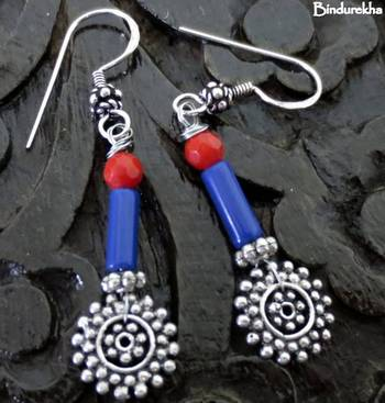 Silver_Coral_Blue_Agate_Pipe_Earrings