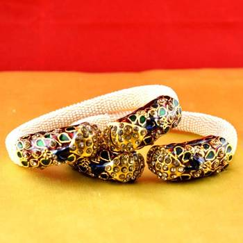gold moti stone cz polki kundun meenakari pearl bangle kara with stretchable