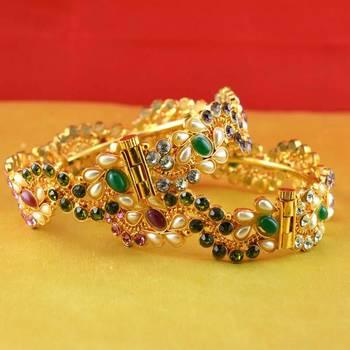gold moti stone polki kundun cz meenakari pearl bangle kara with skrew system