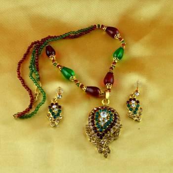 moti cz pearl stone polki kundun  necklace with earing
