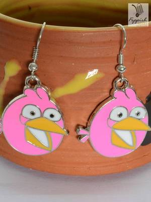 """""""Chirpy"""" Pink Angry Bird Earring"""