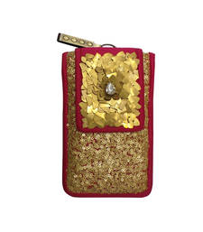 Buy Sequinned Mobile cover with Metal Chips Flap (Pink) wallet online