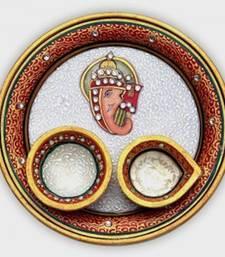 Buy Diwali marble pooja thali home decor diwali-puja-thali online