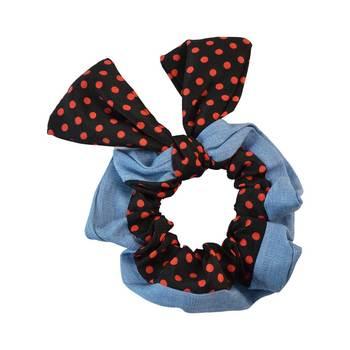 Polka Dot Black Fabric Hair Rubber Band for Women