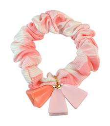 Buy Checks Print Peach Fabric Hair Rubber Band for Women Other online