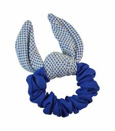 Buy Plain Blue Fabric Hair Rubber Band for Women rubber-hair-band online