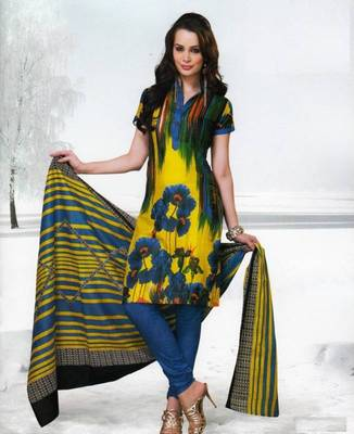 Dress material cotton designer prints unstitched salwar kameez suit d.no var7005