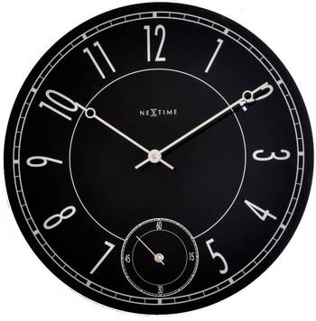 8144-LEITBRING Black Glass Clock with Seconds