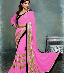 Buy pink Embroidered Georgette saree with blouse other-actress-saree online