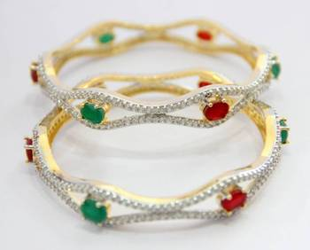 AD STONE SETTED 2 PICS RED GREEN N WHITE ZERKON STONES BANGLES